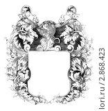 Геральдический герб на гравюре 1700 года. Стоковая иллюстрация, иллюстратор Georgios Kollidas / Фотобанк Лори