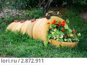 Купить «Клумба-гусеница из автомобильных покрышек», фото № 2872911, снято 22 июля 2011 г. (c) Вячеслав Палес / Фотобанк Лори