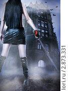 Купить «Девушка с мечом на фоне старинного замка ночью под дождем. Стиль для хэллоуин», фото № 2873331, снято 27 декабря 2010 г. (c) katalinks / Фотобанк Лори