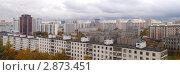 Купить «Панорама Спального района Москвы с крыши высотного дома», фото № 2873451, снято 8 апреля 2020 г. (c) SevenOne / Фотобанк Лори