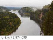 Река Вишера с птичьего полета. Стоковое фото, фотограф Павел Спирин / Фотобанк Лори