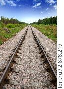 Купить «Железная дорога, уходящая в даль», фото № 2878219, снято 13 июня 2010 г. (c) Дмитрий Наумов / Фотобанк Лори