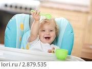 Купить «Малыш годовалый на стульчике для кормления», эксклюзивное фото № 2879535, снято 17 октября 2011 г. (c) Juliya Shumskaya / Blue Bear Studio / Фотобанк Лори