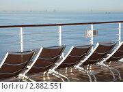 Купить «Шезлонги на палубе круизного судна», фото № 2882551, снято 15 апреля 2010 г. (c) Losevsky Pavel / Фотобанк Лори