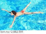 Купить «Девушка плавает в бассейне», фото № 2882591, снято 15 апреля 2010 г. (c) Losevsky Pavel / Фотобанк Лори