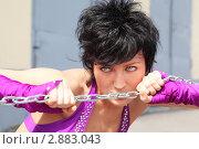 Купить «Девушка с цепью», фото № 2883043, снято 4 июня 2010 г. (c) Losevsky Pavel / Фотобанк Лори