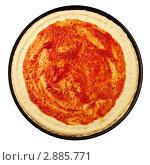Заготовка для пиццы - тесто и томатный соус. Стоковое фото, фотограф Сергей Матвеев / Фотобанк Лори