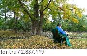 Купить «Пожилая женщина читает книгу в парке осенью», видеоролик № 2887119, снято 18 октября 2011 г. (c) Владимир Никулин / Фотобанк Лори