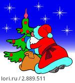 Купить «Санта Клаус кладет подарки под елку», иллюстрация № 2889511 (c) Фотограф / Фотобанк Лори