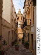 Купить «Узкая средневековая улица в Витториоза, Мальта», фото № 2889551, снято 15 декабря 2010 г. (c) Яков Филимонов / Фотобанк Лори