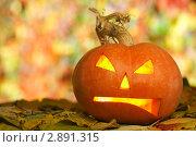 Хеллоуин, фонарь из тыквы. Стоковое фото, фотограф Иван Коваленко / Фотобанк Лори