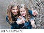Купить «Счастливая семья. Сестры показывают что всё будет хорошо.», эксклюзивное фото № 2893375, снято 22 апреля 2011 г. (c) Игорь Низов / Фотобанк Лори