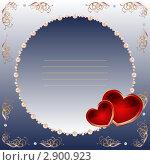 Купить «Круглая декоративная рамка на синем фоне», иллюстрация № 2900923 (c) Любовь Назарова / Фотобанк Лори