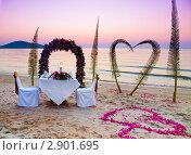 Купить «Место для романтического ужина на берегу моря», фото № 2901695, снято 7 марта 2010 г. (c) Liseykina / Фотобанк Лори