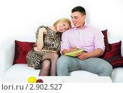 Купить «Счастливая семейная пара что-то планирует, сидя на диване», фото № 2902527, снято 12 мая 2011 г. (c) Ольга Красавина / Фотобанк Лори