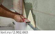 Купить «Укладка керамической плитки», видеоролик № 2902663, снято 24 октября 2011 г. (c) Владимир Никулин / Фотобанк Лори