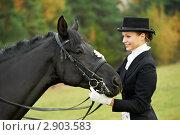 Девушка-жокей с лошадью. Стоковое фото, фотограф Дмитрий Калиновский / Фотобанк Лори