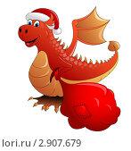 Купить «Огненный дракон с мешком подарков», иллюстрация № 2907679 (c) Алла Ушакова / Фотобанк Лори