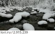 Купить «Восточные Саяны. Обильный снегопад в октябре украсил лес и горную реку», видеоролик № 2915239, снято 31 октября 2011 г. (c) Виктория Катьянова / Фотобанк Лори