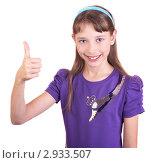 Портрет девочки на белом фоне. Стоковое фото, фотограф Нилов Сергей / Фотобанк Лори