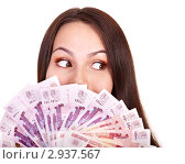 Купить «Женщина с деньгами», фото № 2937567, снято 4 июля 2011 г. (c) Gennadiy Poznyakov / Фотобанк Лори