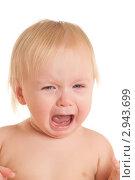 Купить «Плачущий малыш на белом фоне», фото № 2943699, снято 14 ноября 2010 г. (c) Бурков Андрей / Фотобанк Лори
