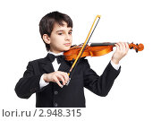 Купить «Юный скрипач», фото № 2948315, снято 9 февраля 2011 г. (c) lanych / Фотобанк Лори
