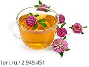 Купить «Травяной чай с клевером в стеклянной чашке», фото № 2949451, снято 16 сентября 2011 г. (c) Резеда Костылева / Фотобанк Лори