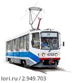 Купить «Трамвай Усть-Катавского вагоностроительного завода модели 71-608 на белом фоне изолировано», эксклюзивное фото № 2949703, снято 10 ноября 2010 г. (c) Родион Власов / Фотобанк Лори