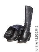 Пара черных женских зимних кожаных сапог на белом фоне. Стоковое фото, фотограф Сергей Павлов / Фотобанк Лори