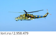 Купить «Вертолет миротворческих сил Ми-24 в воздухе», фото № 2958479, снято 10 августа 2006 г. (c) Евгений Ткачёв / Фотобанк Лори