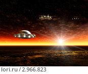 Купить «Ландшафт с инопланетными НЛО», иллюстрация № 2966823 (c) ElenArt / Фотобанк Лори