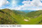 Купить «Солнечный горный пейзаж», фото № 2967943, снято 18 октября 2018 г. (c) Юрий Брыкайло / Фотобанк Лори