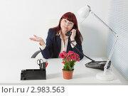 Купить «Деловая женщина разговаривает по телефону жестикулируя», фото № 2983563, снято 5 июня 2011 г. (c) Сергей Дубров / Фотобанк Лори