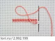 Купить «Вышивка крестом. Иголка с розовой ниткой на канве», фото № 2992199, снято 20 февраля 2011 г. (c) Вячеслав Плясенко / Фотобанк Лори