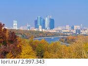 Купить «Современные башни Делового центра со смотровой площадки на Воробьевых горах, Москва», фото № 2997343, снято 8 октября 2011 г. (c) Fro / Фотобанк Лори