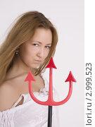 Купить «Блондинка с дьявольскими вилами», фото № 2999523, снято 1 марта 2010 г. (c) Литвяк Игорь / Фотобанк Лори