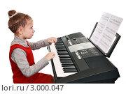 Купить «Девочка учится играть на синтезаторе», фото № 3000047, снято 27 ноября 2011 г. (c) Круглов Олег / Фотобанк Лори