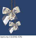 Серебристые бантики - декоративные элементы для праздников - Рождества, Нового года, свадьбы. Стоковая иллюстрация, иллюстратор Ольга Алиева / Фотобанк Лори