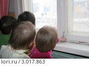 Купить «Дети смотрят в окно», фото № 3017863, снято 22 апреля 2009 г. (c) Елена Боброва / Фотобанк Лори