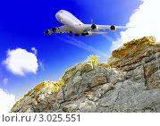 Купить «Современный большой гражданский самолет летит над горами Крыма», фото № 3025551, снято 13 сентября 2009 г. (c) Vitas / Фотобанк Лори