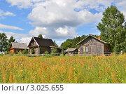 Купить «Деревянные домики в деревне Ширково», эксклюзивное фото № 3025655, снято 24 июля 2011 г. (c) Елена Коромыслова / Фотобанк Лори