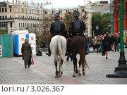 Купить «Москва.  Конная полиция на Манежной площади», эксклюзивное фото № 3026367, снято 15 сентября 2011 г. (c) lana1501 / Фотобанк Лори