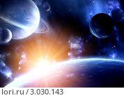 Купить «Космическая сцена», иллюстрация № 3030143 (c) Лукиянова Наталья / Фотобанк Лори