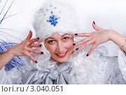 Женщина в образе Снегурочки. Стоковое фото, фотограф Павел Сазонов / Фотобанк Лори