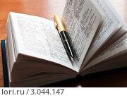 Купить «Ручка и словарь французского языка», эксклюзивное фото № 3044147, снято 29 ноября 2011 г. (c) Игорь Низов / Фотобанк Лори