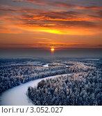 Вид сверху на заснеженный зимний лес в канун Рождества, фото № 3052027, снято 17 января 2008 г. (c) Владимир Мельников / Фотобанк Лори