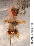 Сжигание соломенного чучела на Масленицу. Стоковое фото, фотограф Елена Коромыслова / Фотобанк Лори