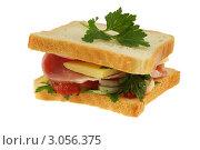 Купить «Бутерброд, изолированно на белом фоне», фото № 3056375, снято 19 августа 2018 г. (c) Абышев А.А. / Фотобанк Лори