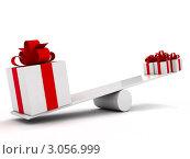 Подарки на качели. Разница очевидна. Стоковая иллюстрация, иллюстратор Виталий / Фотобанк Лори